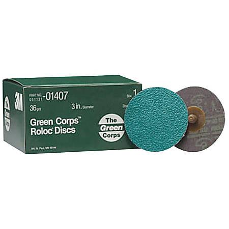 Green Corps Roloc Discs, Aluminum Oxide, 3 in Dia., 36 Grit