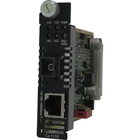 Perle CM-1110-S1SC40D Media Converter - 1 x Network (RJ-45) - 1 x SC Ports - 10/100/1000Base-T, 1000Base-BX - Internal