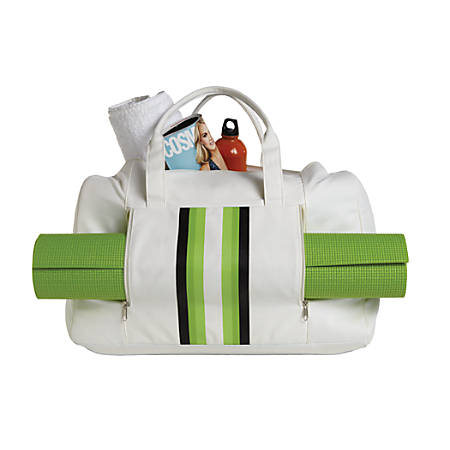 "Orbit Gym Bag With Yoga Mat, 20""H x 7""W x 13""D, Cream/Green"