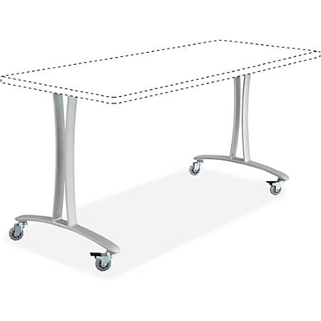 """Safco Rumba Training Table T-leg Base with Casters - T-shaped Base - 2 Legs - 25.25"""" Height x 5.25"""" Width"""