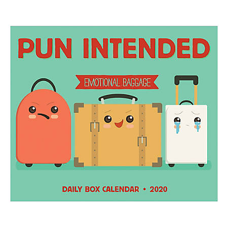 """Willow Creek Press Page-A-Day Daily Desk Calendar, 5-1/2"""" x 6-1/4"""", Pun Intended Emotional Baggage, January to December 2020, 09659"""