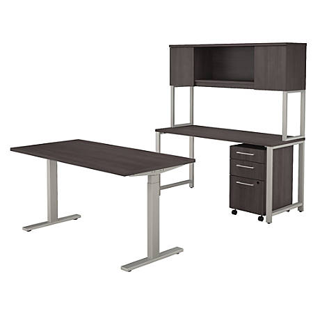 """Bush Business Furniture 400 Series 60""""W x 30""""D Height Adjustable Standing Desk with Credenza, Hutch and Storage, Storm Gray, Premium Installation"""