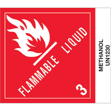 "Tape Logic® Preprinted Shipping Labels, DL517P1, Methanol, Square, 4"" x 4 3/4"", Red/White/Black, Roll Of 500"