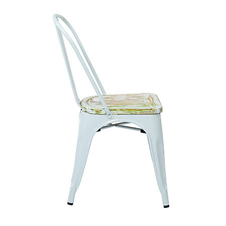 Office Star™ Bristow Armless Chairs with Wood Seats, Pine Irish/White, Set Of 4 Chairs