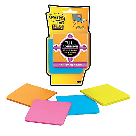"Post-it® Super Sticky Full Stick Notes, 3"" x 3"", Rio De Janeiro, Pack Of 4 Pads"