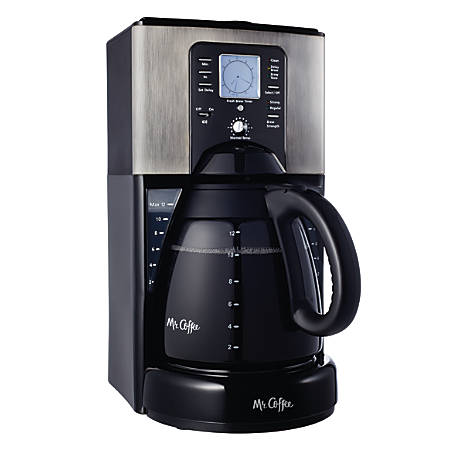 Mr. Coffee FTX41-NP 12-Cup Programmable Coffeemaker With Brew Strength Selector, Black/Silver