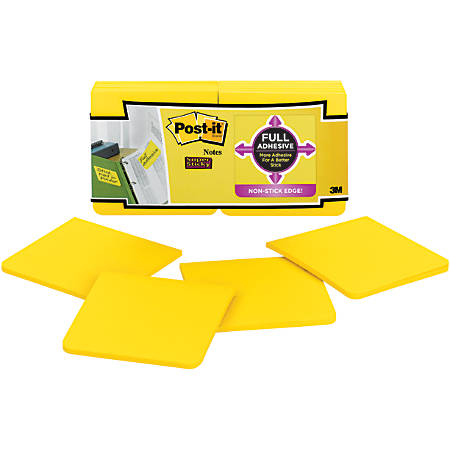 """Post it® Super Sticky Full Stick Notes, 3"""" x 3"""", Electric Yellow,, Pack Of 12 Pads"""