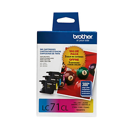 Brother® LC71 Cyan/Magenta/Yellow Ink Cartridges, Pack Of 3