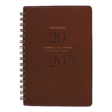 """AT-A-GLANCE® Signature Collection 13-Month Weekly/Monthly Planner, 5-1/2"""" x 8-1/2"""", Distressed Brown, January 2020 to January 2021"""