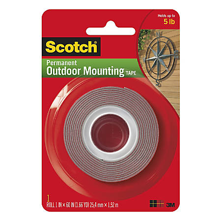 "Scotch® Permanent Heavy-Duty Outdoor Mounting Tape, Double-Sided, 1"" x 60"""