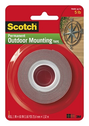 Scotch Permanent Heavy Duty Outdoor Mounting Tape Double Sided 1 X