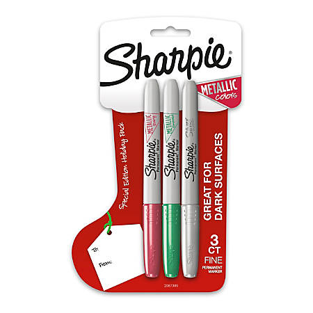 Sharpie Metallic Permanent Markers, Fine Point, Assorted Colors, 3 Count, Special Holiday Pack