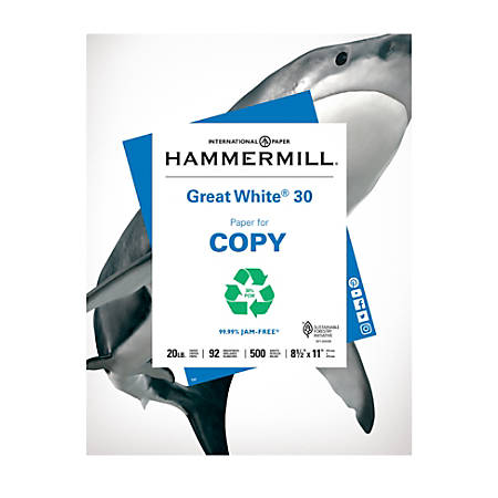 """Hammermill® Great White® Copy Paper, Letter Size (8 1/2"""" x 11""""), 20 Lb, 30% Recycled, Ream Of 500 Sheets"""