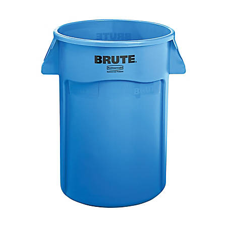 Rubbermaid Commercial Brute Vented Trash Receptacle, Round, 44 gallon, Blue, Sold as one waste receptacle