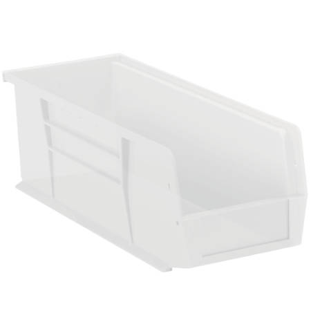 "Office Depot® Brand Plastic Stack And Hang Bin Boxes, 14 3/4"" x 5 1/2"" x 5"", Clear, Pack Of 12"