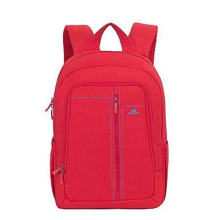 """Rivacase 7560 Canvas Backpack With 15"""" Laptop Pocket, Red"""