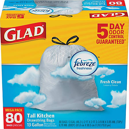Glad® Tall Kitchen 5-Day OdorShield Trash Bags With Febreze® Freshness, 13 Gallons, Fresh Clean Scent, White, Pack Of 80 Trash Bags