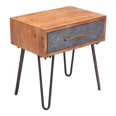 Zuo Modern Metal End Table, Rectangle, Antique