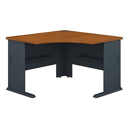 "Bush Business Furniture Office Advantage Corner Desk 48""W, Natural Cherry/Slate, Premium Installation"