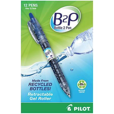 "Pilot® ""Bottle to Pen"" B2P Retractable Gel Pens, Fine Point, 0.7 mm, 89% Recycled, Translucent Barrel, Blue Ink, Pack Of 12"