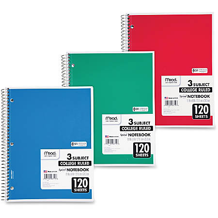 """Mead 3 - Subject Wirebound College Ruled Notebooks - Letter - 120 Sheets - Spiral - 8 1/2"""" x 11"""" - White Paper - Back Board - 1Each"""