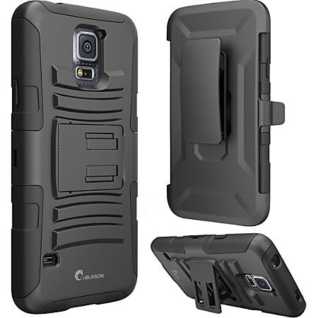 i-Blason Prime Carrying Case (Holster) Smartphone - Black - Shock Absorbing, Impact Resistant, Drop Resistant, Abrasion Resistant - Polycarbonate, Silicone - i-Blason Logo - Holster, Belt Clip