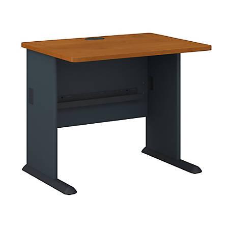 "Bush Business Furniture Office Advantage Desk 36""W, Natural Cherry/Slate, Premium Installation"
