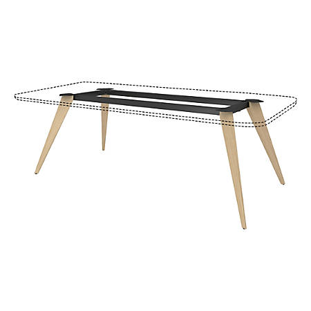 """Lorell® 96""""W Rectangular Conference Table Wood Base, Natural/Black"""