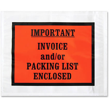 "Sparco Pre-labeled Important Invoice Envelopes - Packing List - 5 1/2"" Width x 4 1/2"" Length - 70 g/m² - Self-adhesive Seal - Paper, Low Density Polyethylene (LDPE) - 1000 / Box - White"