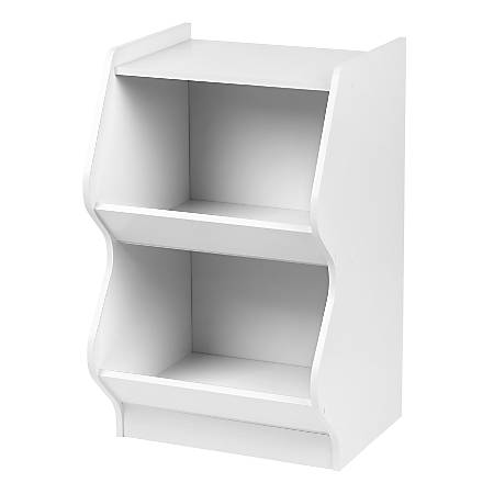 "IRIS 27""H 2-Tier Curved Edge Storage Shelf, White"