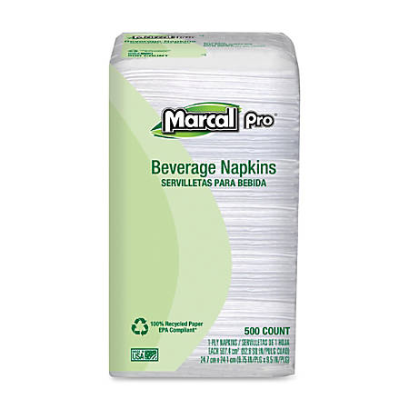 Marcal® 100% Recycled Beverage Napkins, Single-Ply, Pack Of 500