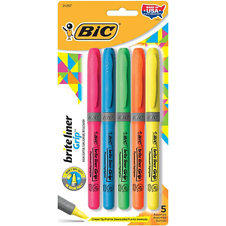 BIC® Brite Liner® Grip Highlighters, Assorted Colors, Pack Of 5