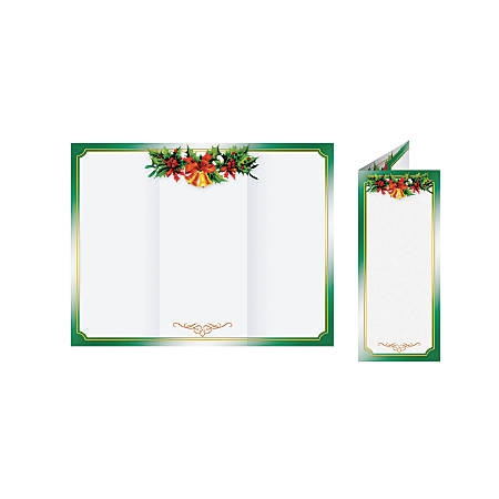 """Great Papers!® Holiday-Themed Programs, Golden Bells Tri-Fold, 3 11/16"""" x 8 1/2"""", Pack Of 25"""