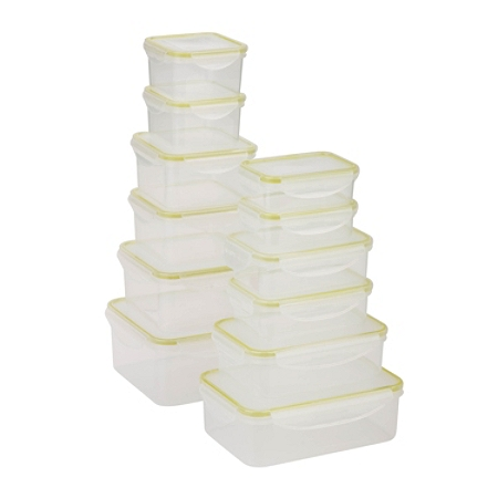 Honey-Can-Do 24-Piece Locking Food Container Set, 0.3 - 2.1 Qt, Clear