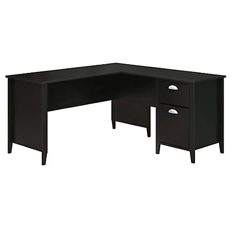 "kathy ireland® Home by Bush Furniture Connecticut 60""W L Shaped Desk, Black Suede Oak, Standard Delivery"