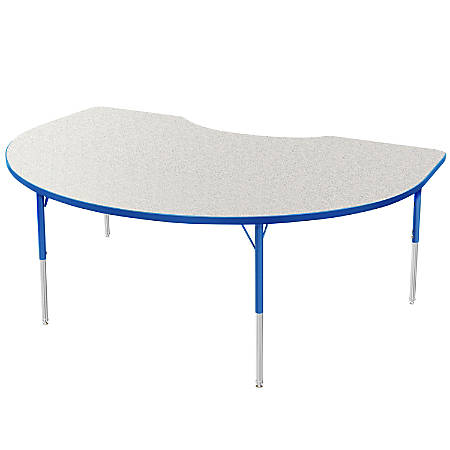 """Marco Group 48"""" x 72"""" Activity Table, Crescent, 16 - 24""""H, Gray Glace/Blue"""