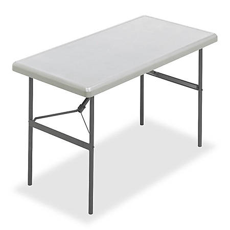 "Iceberg IndestrucTable TOO™ 1200-Series Folding Table, 48""W x 24""D, Platinum"