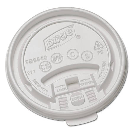 Dixie® Plastic Lids For Hot Drink Cups, Fits 10 Oz Cups, White, Case Of 1,000