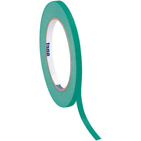 "Tape Logic® Color Masking Tape, 3"" Core, 0.25"" x 180', Dark Green, Case Of 12"