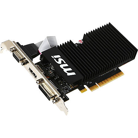 MSI GT 710 1GD3H LPV1 GeForce GT 710 Graphic Card - 954 MHz Core - 1 GB DDR3 SDRAM - 1600 MHz Memory Clock - 64 bit Bus Width - Passive Cooler - DirectX 12, OpenGL 4.5 - 1 x HDMI - 1 x VGA - 1 x Total Number of DVI (1 x DVI-D) - Dual Link DVI Supported