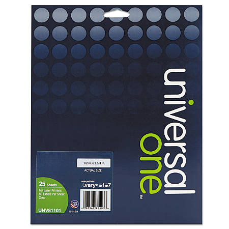 """Universal® Deluxe Permanent Labels, UNV81101, 1/2"""" x 1 3/4"""", Clear, Box Of 2,000"""