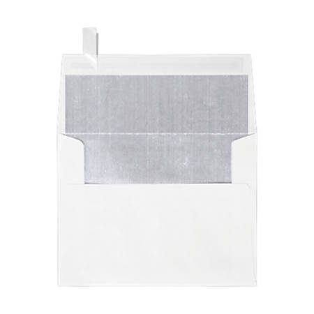 """LUX Invitation Envelopes With Peel & Press Closure, A2, 4 3/8"""" x 5 3/4"""", Silver/White, Pack Of 1,000"""