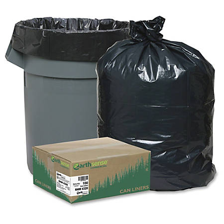 "Webster Reclaim Heavy-Duty Recyled Can Liners - Extra Large Size - 56 gal - 43"" Width x 47"" Length - 2 mil (51 Micron) Thickness - Black - Plastic - 100/Carton - Can"