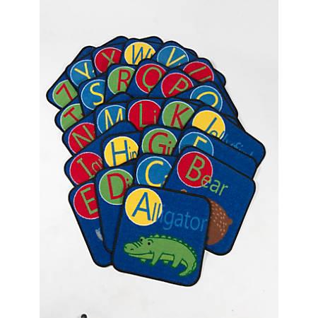 "Flagship Carpets Alphabet Animals Seating Squares, 16"" x 16"", Multicolor, Set Of 26"