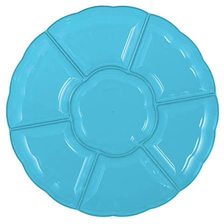 """Amscan Scalloped Sectional Chip 'N Dip Trays, 16"""", Caribbean Blue, Pack Of 3 Trays"""