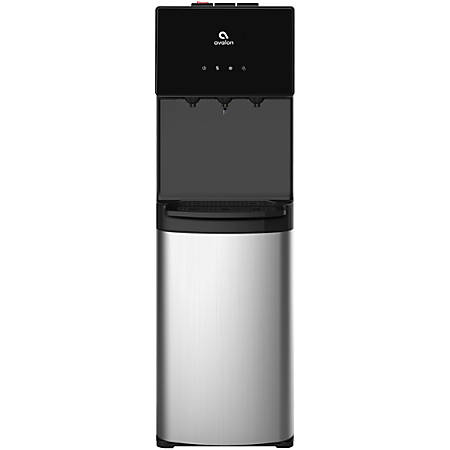 """Avalon 3-Temperature Bottom-Loading Hot/Cold Water Cooler With Child Safety Lock, 13""""H x12""""W x 41""""D, Stainless Steel"""