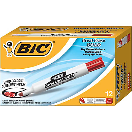 BIC® Great Erase® Dry Erase Marker, Bold Point, Chisel Point, White Barrel, Red Ink, Pack Of 12