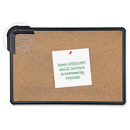 "MooreCo Eco-friendly Black Splash Cork Board - 48"" Height x 72"" Width - Natural Cork Surface - Durable, Self-healing, Environmentally Friendly, Flexible - Black Anodized Aluminum Frame - 1 Each"