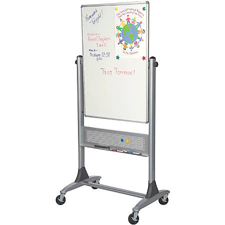 "Best-Rite® Dura-Rite Reversible Dry-Erase White Board, 40"" x 30"", Silver Frame"