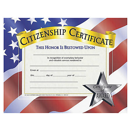 "Flipside Citizenship Certificate - 11"" x 8.50"" - Laser Compatible - Assorted30 / Pack"